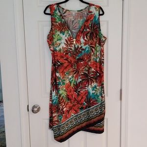 Dressbarn 2x leaf print dress